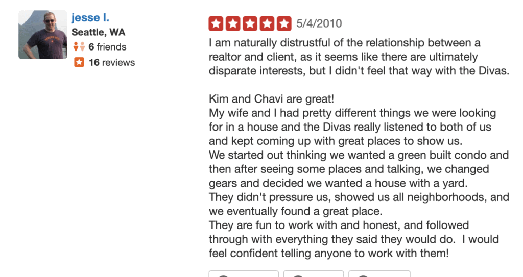 Five Star Review From Diva Dweller Jesse for top rated real estate Divas Chavi and Kim