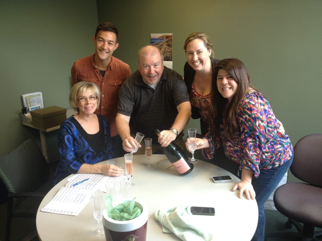 Signing Diva Dweller Mike Antee with Champagne
