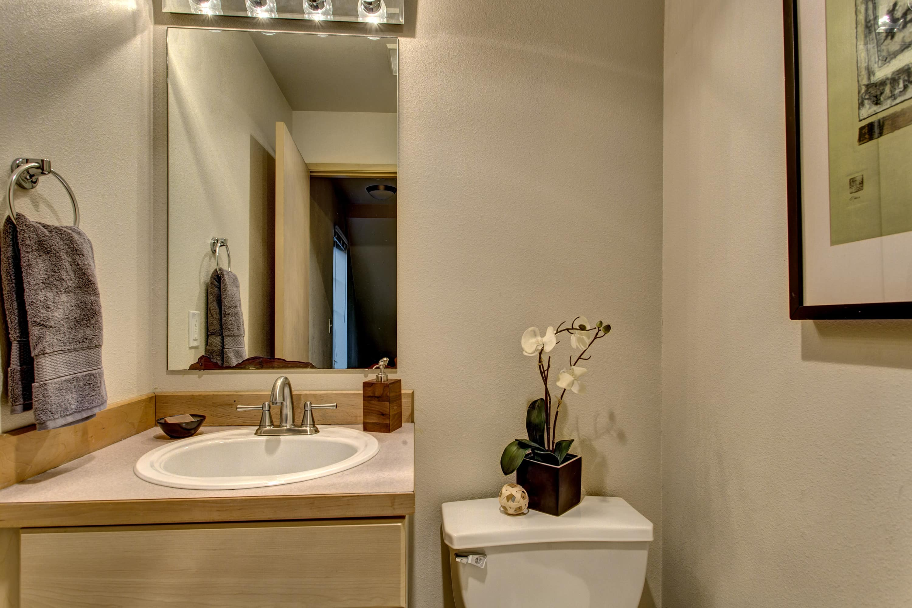 Powder room perfect for guests.