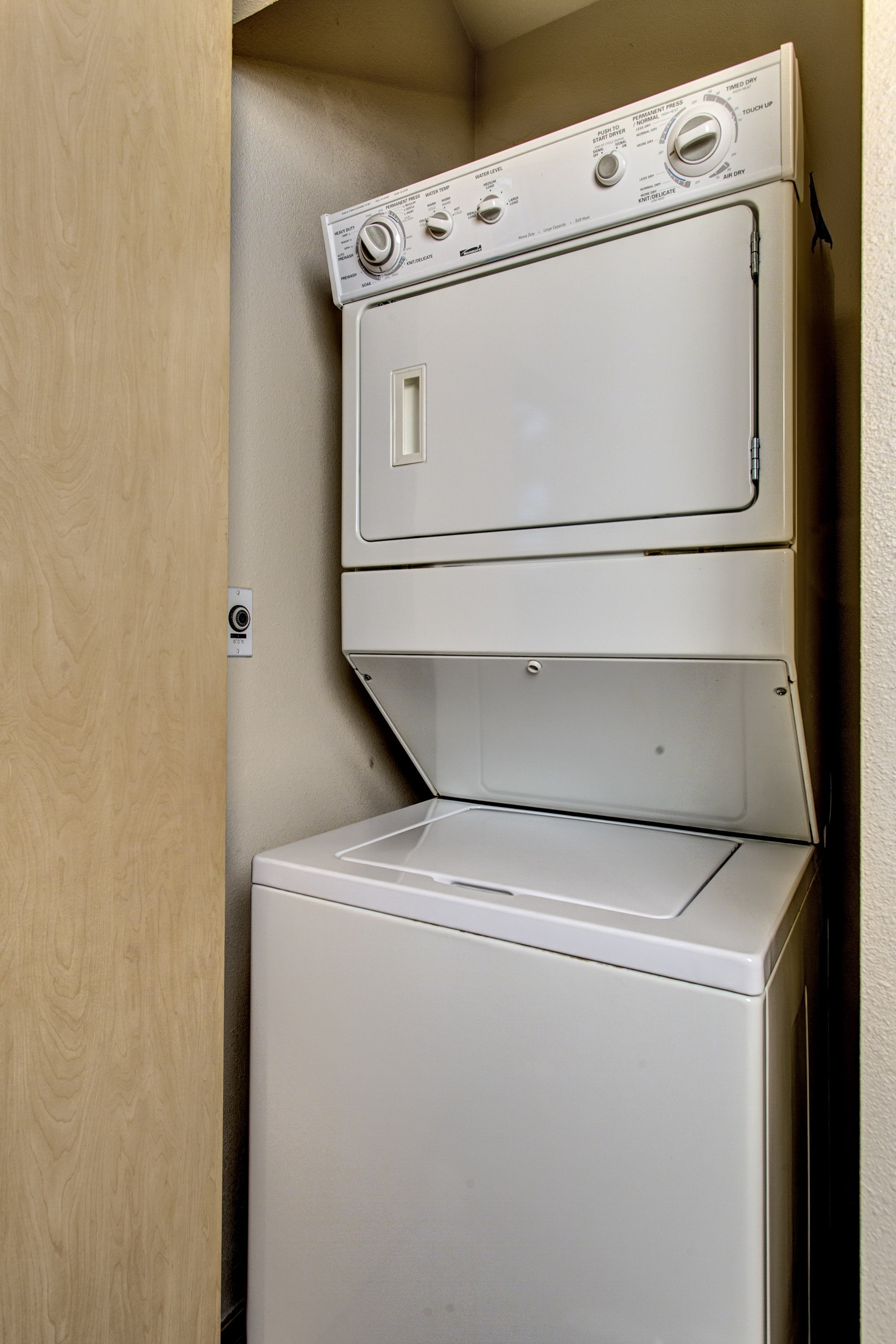 Stackable washer and dryer saves you a trip to the laundromat.