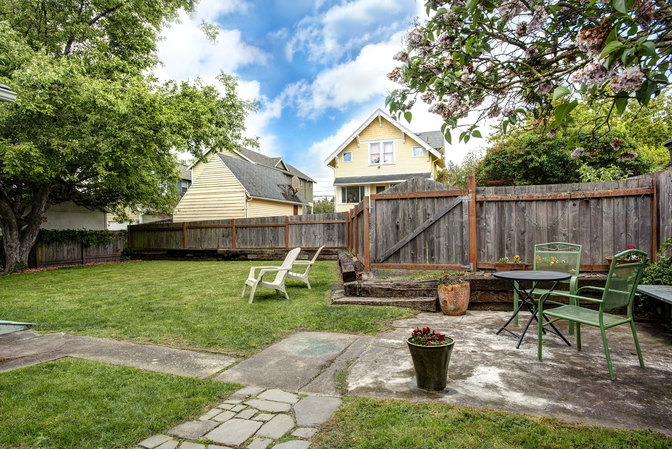 Fully fenced yard is perfect for grilling or playing with your four-legged friends.