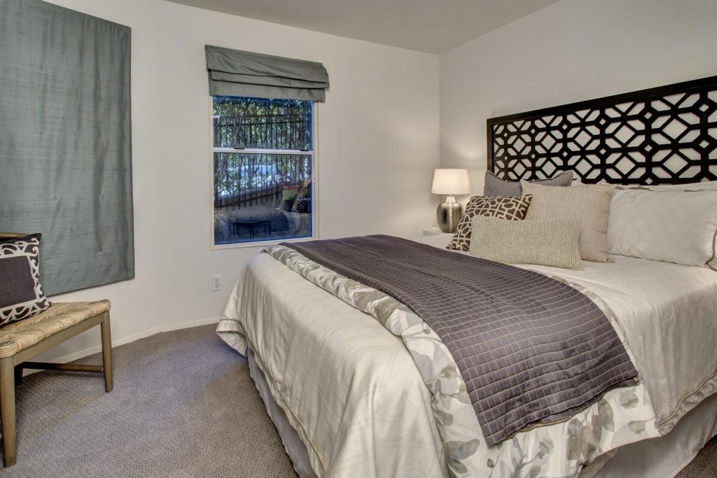 Cozy lower level bedroom.