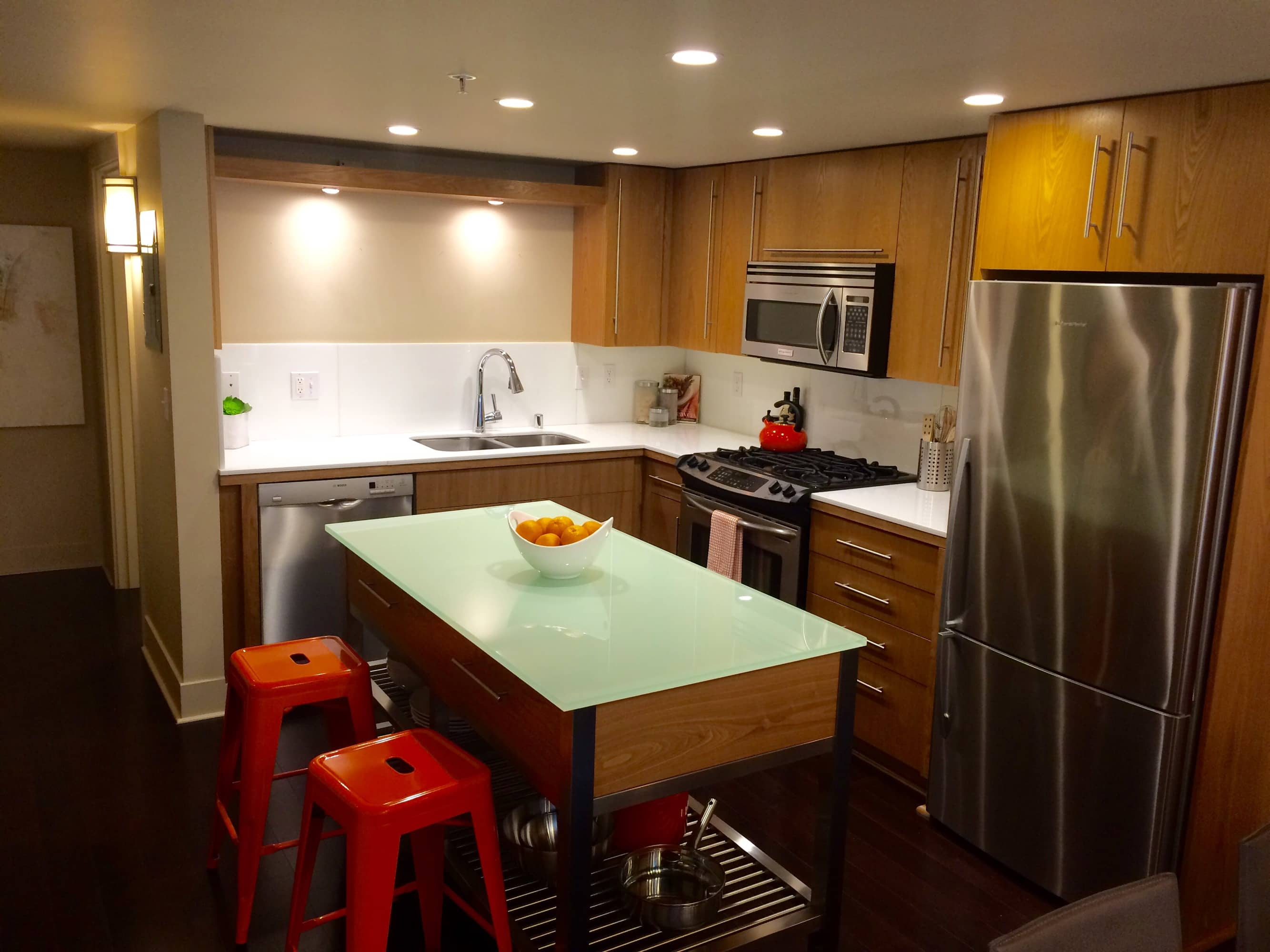 Efficient kitchen with island counter for more counter space or casual dining