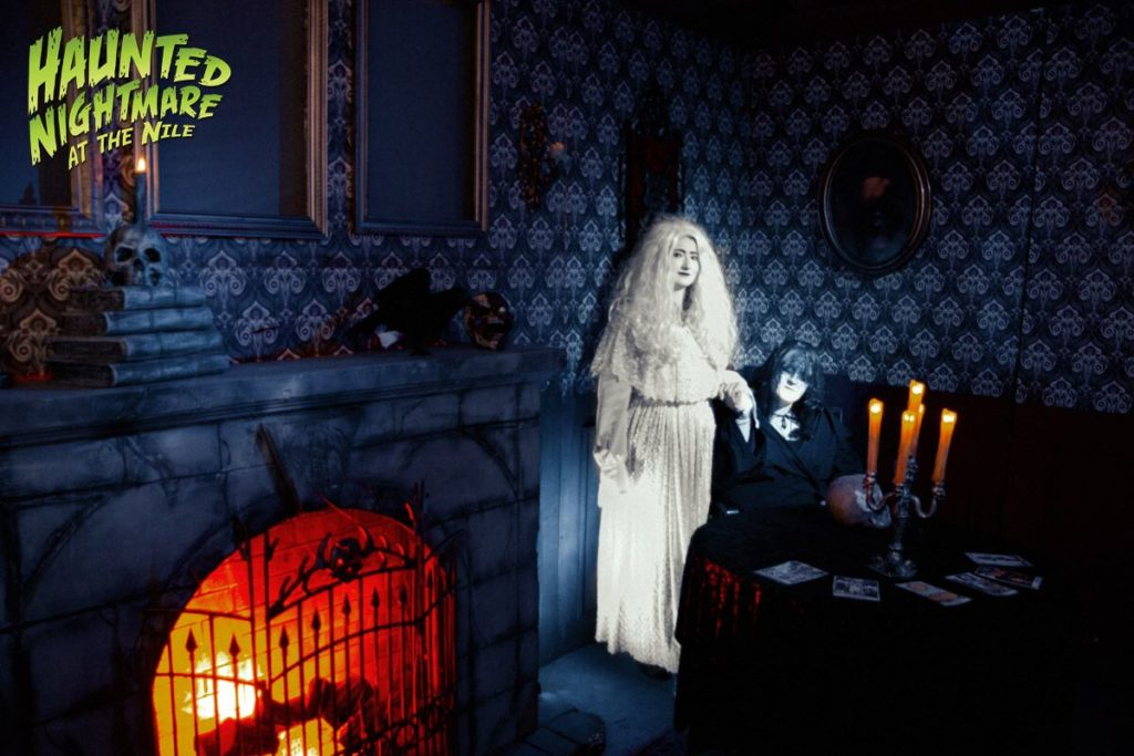 A ghost bride and fortune teller greet visitors. Image courtesy of Haunted Nightmare.