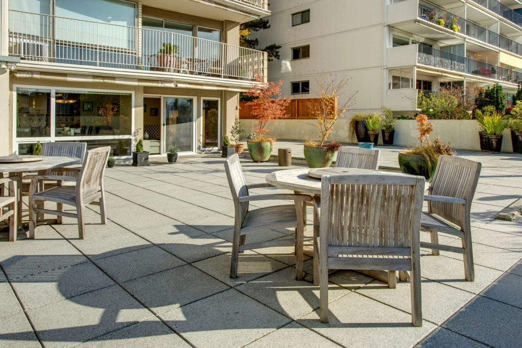 The Highlander Condo on Capitol Hill has one of the most stunning Lake Union view decks just outside our condo's door.