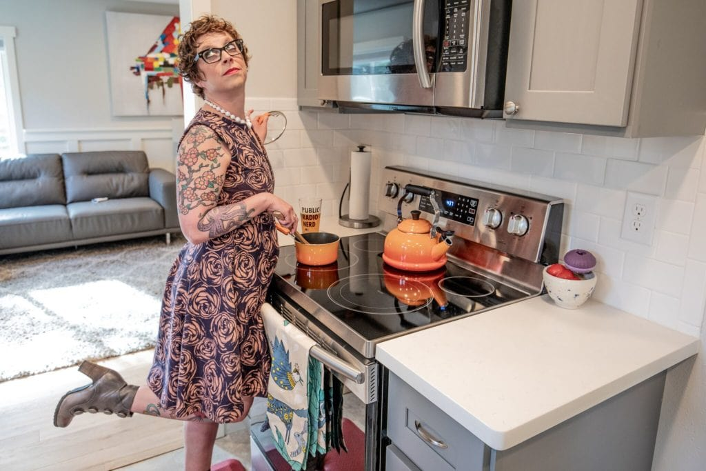 Seattle Home Buyer Stories: Shannon camps it up in the kitchen.