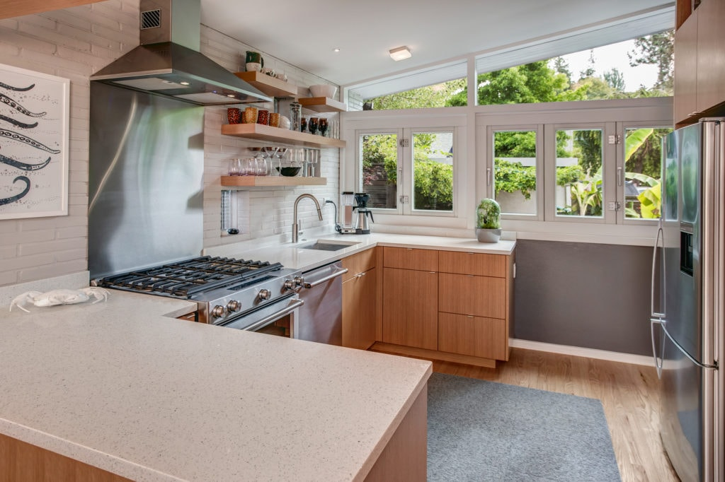 Alki Mid-Century Modern Home Renovated Kitchen Looking Out to the Garden