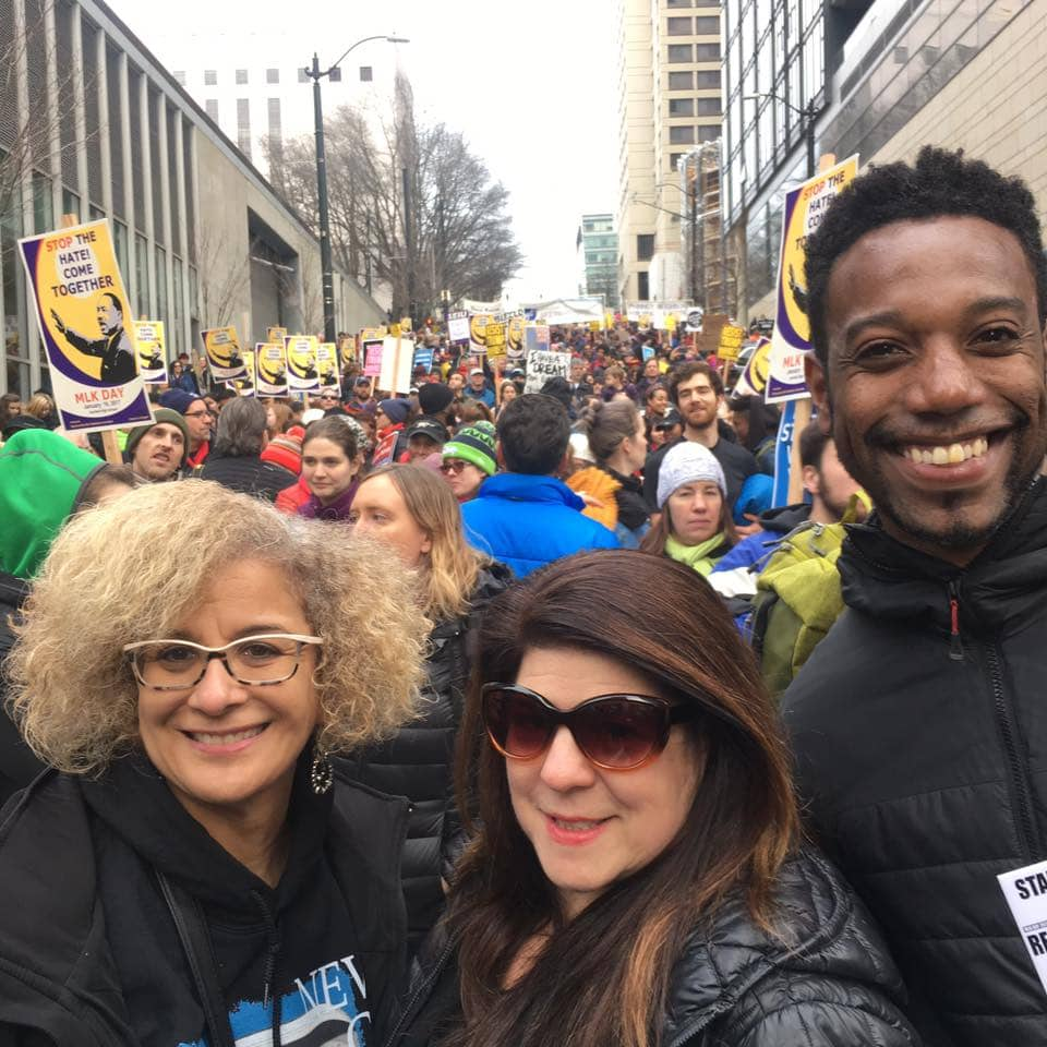 Social Justice Fighter and Seattle REALTOR Kim V. Colaprete Marching in the 2017 MLK Day March