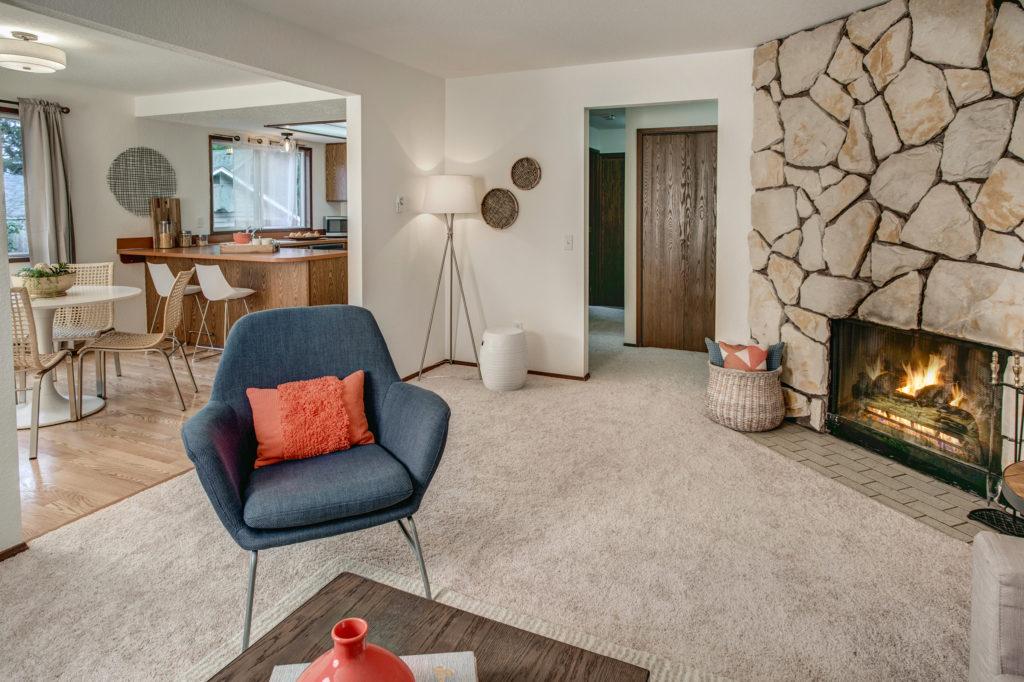 Pinehurst Mid Century Condo Living Room, Dining Room and Kitchen