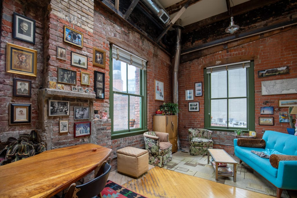 The living area in Jane and Steve's cozy, bohemian Pioneer Square loft