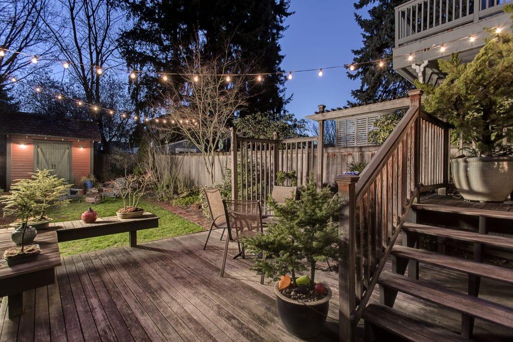 Historic Wallingford Farmhouse Twilight Backyard and Deck