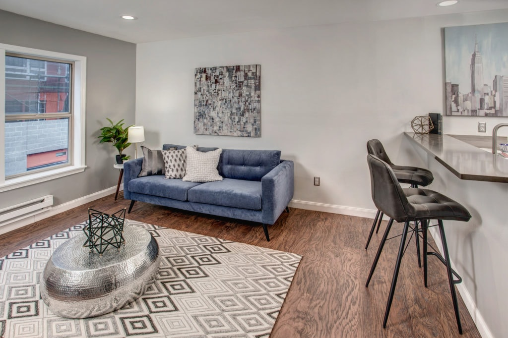 First-Time Home Buyer Capitol Hill Condo Living and Breakfast Bar