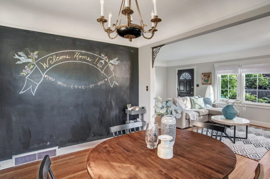 Rainier Beach Home Chalkboard Wall, Dining Area, Living Area and Entry