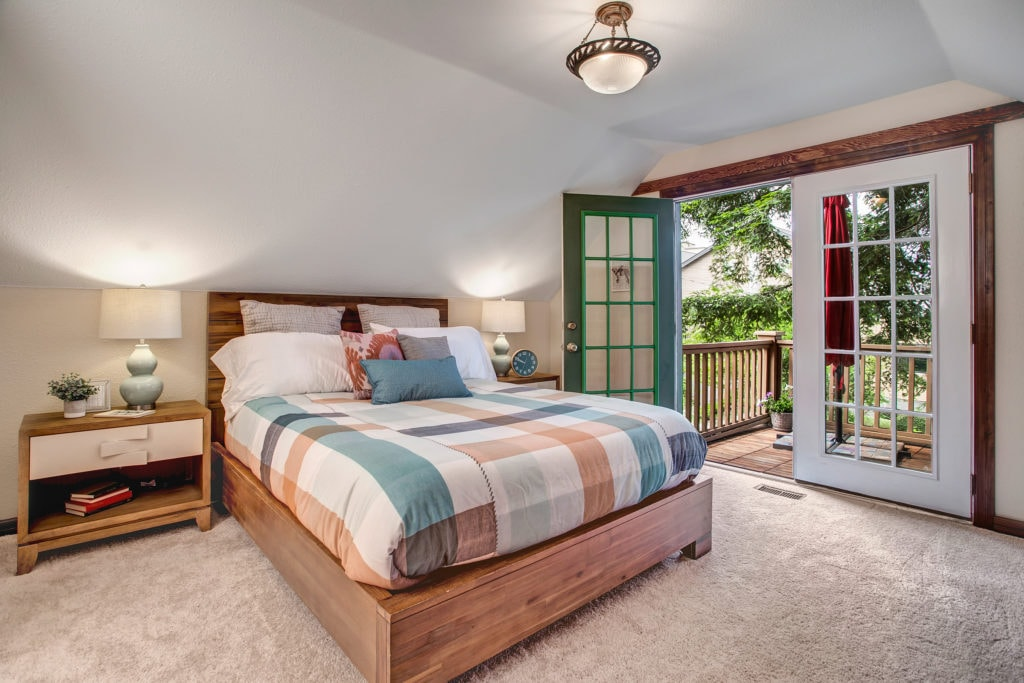 Madison Valley Home Owner's Suite Bedroom and Private Deck