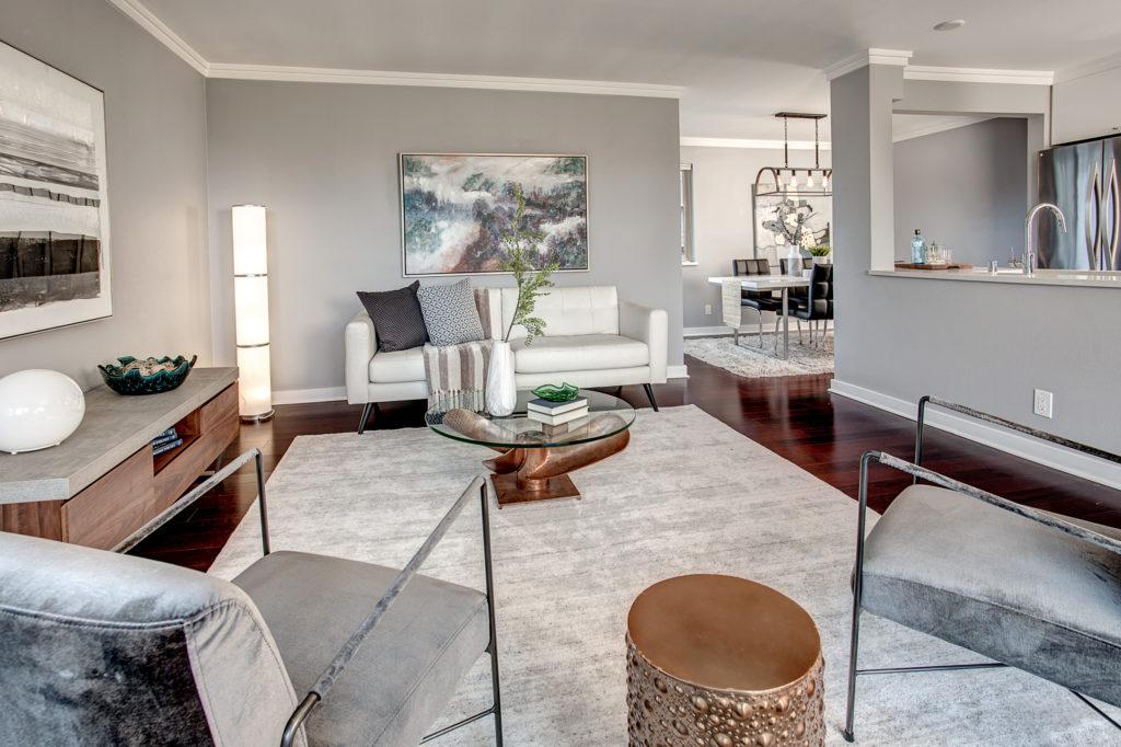 Modern Capitol Hill Condo, Midtown Seattle Condo, Top Floor Condo, Corner Unit Condo, Living Area, Stainless Steel Kitchen, Dining Area