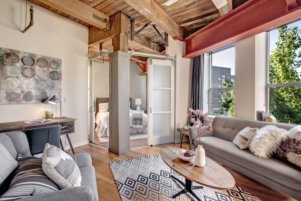 Capitol Hill Loft Condo Open Living Area and Bedroom
