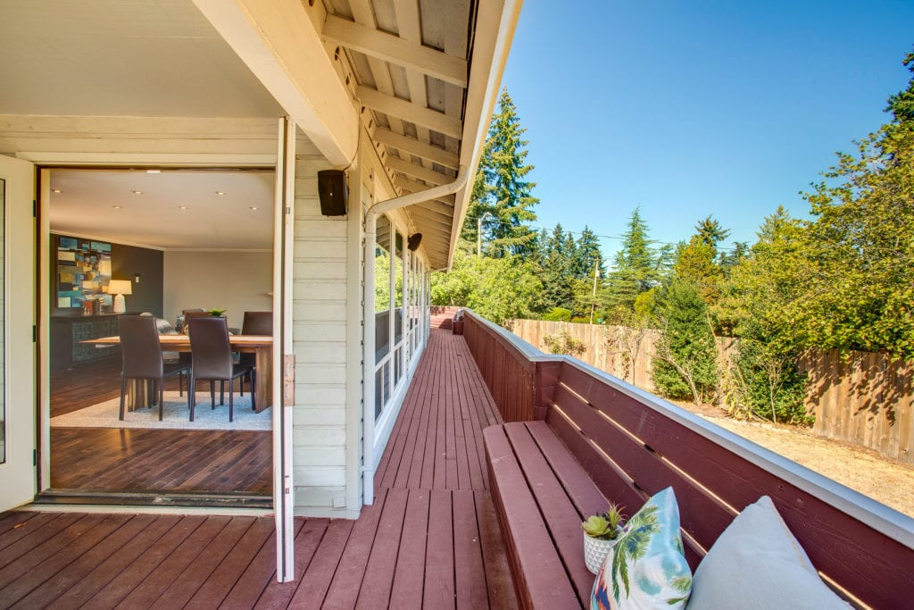 West Lake Sammamish Home Exterior, Covered Wrap Around Deck, Dining Area