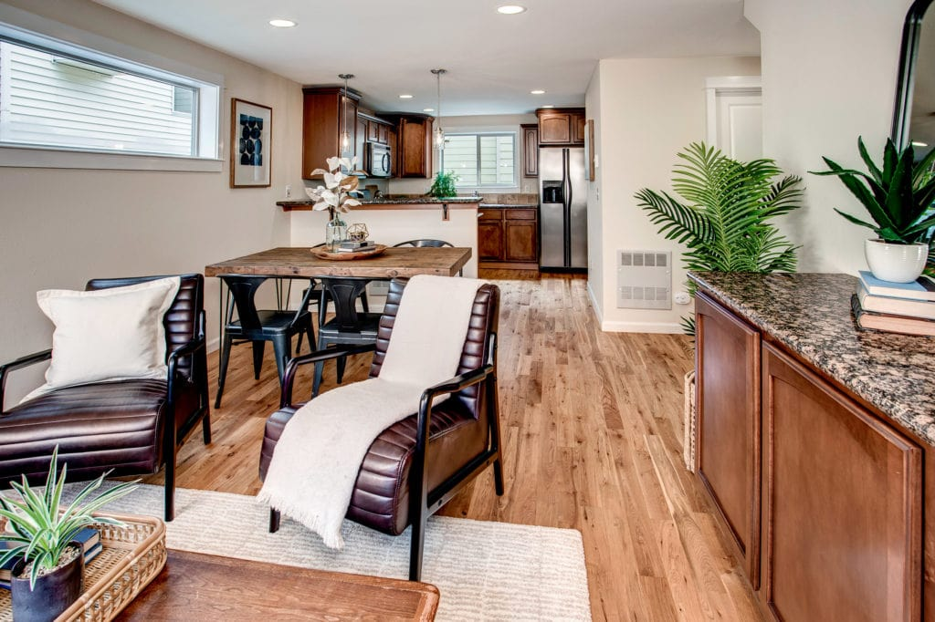 Green Lake Townhome Living Area, Dining Area, Breakfast Bar, Kitchen, Open Main Living Area