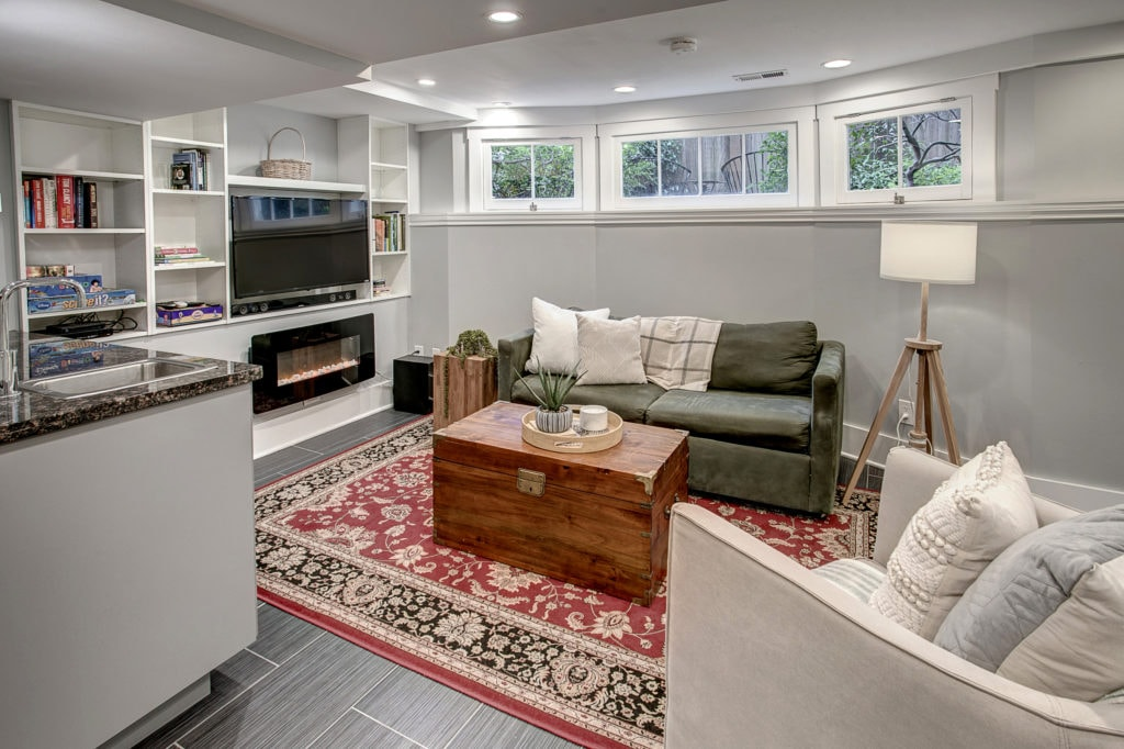 Classic Capitol Hill Home, Basement Living Area, Wet Bar, Game Room, Electric Fireplace