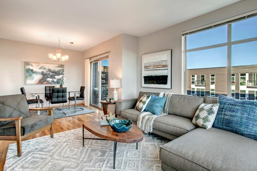 Wallingford Condo Main Living Area, Dining Area, and Balcony