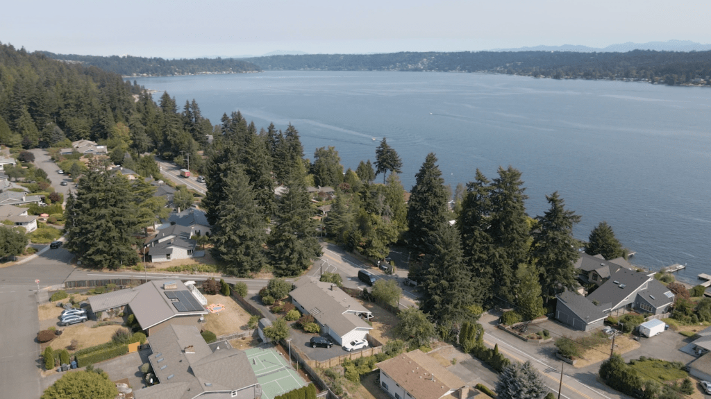 Aerial Drone View of West Lake Sammamish, Bellevue