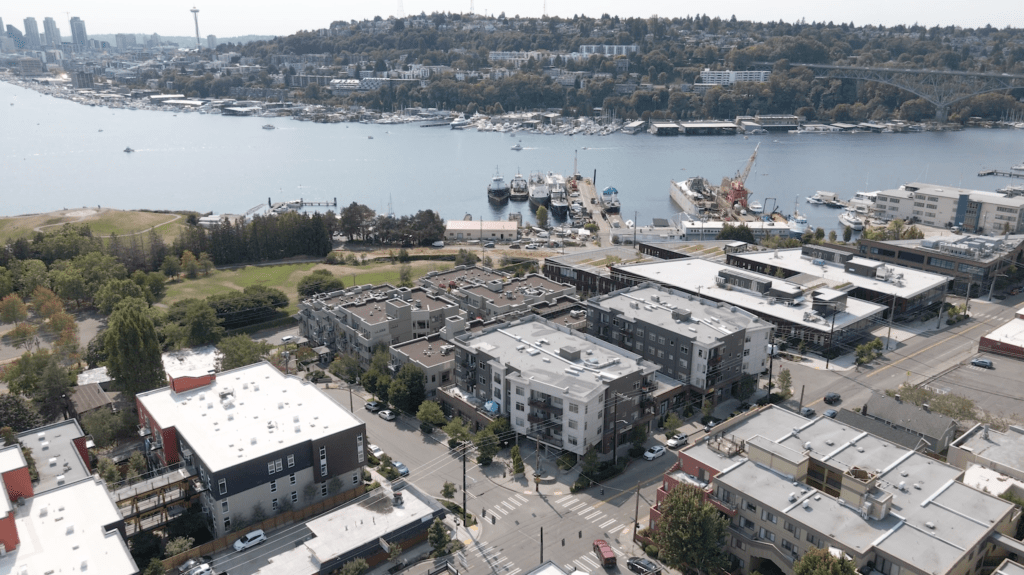 Drone Aerial View of Wallingford, The Tavona, Gas Works Park, the Space Needle, Queen Anne, and Lake Union