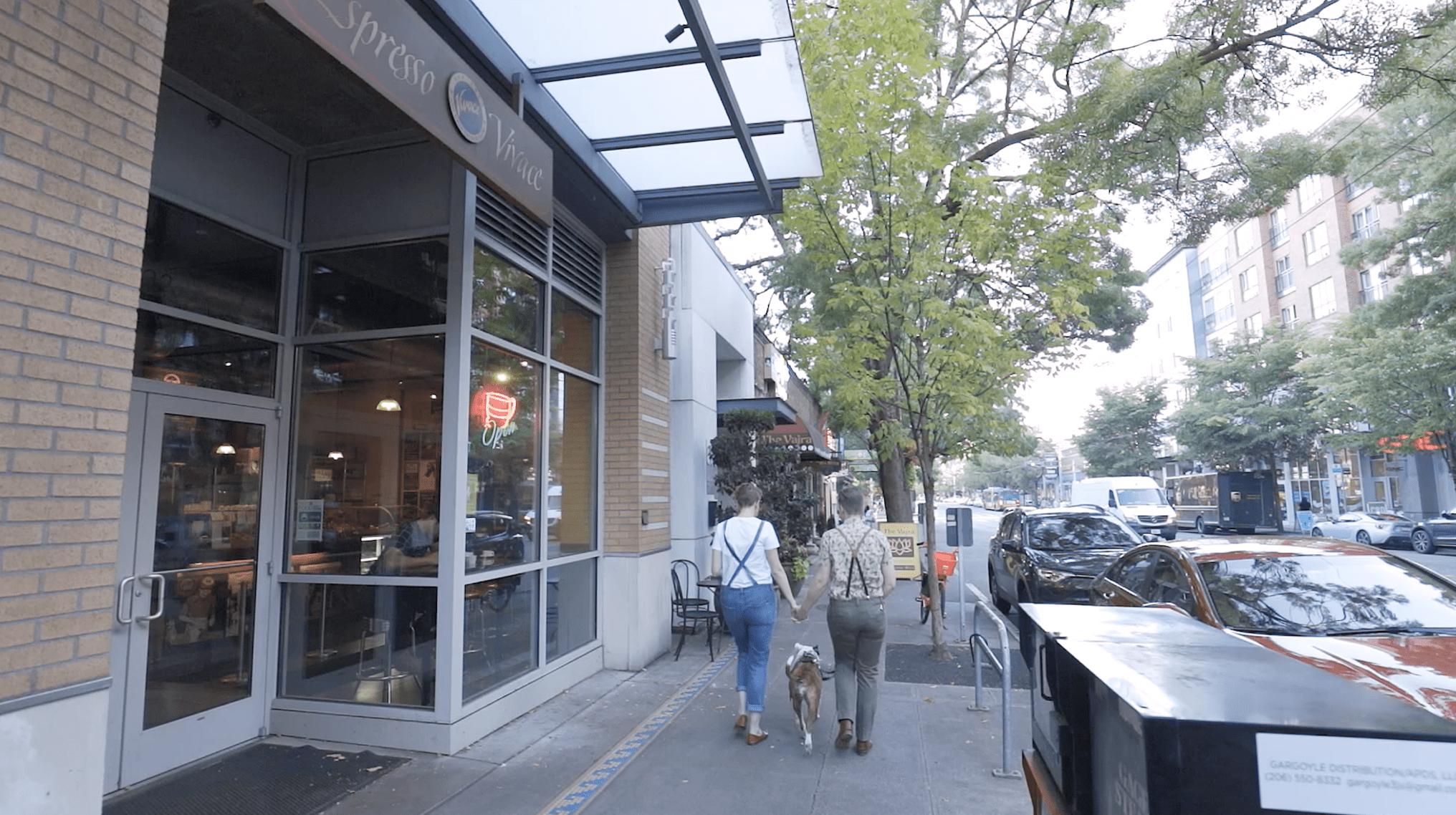 North Broadway at Espresso Vivace and Vajra