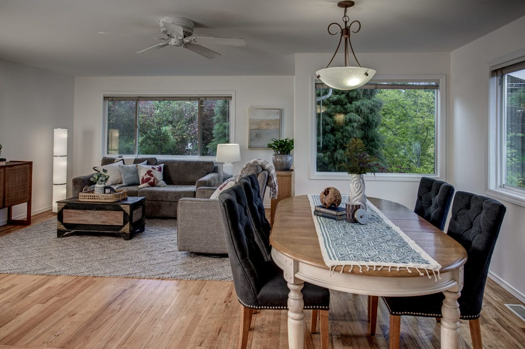 Judkins Park Townhome, Reclaimed Hardwood Floors, Main Living Level, Dining Area, Living Area