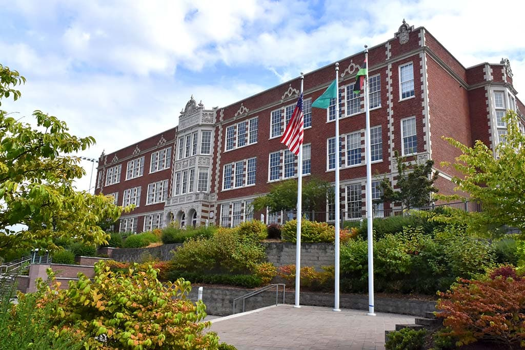 Garfield High School, one of the landmark buildings featured in History Link's walking tour of the Central District designed with Jackie Peterson