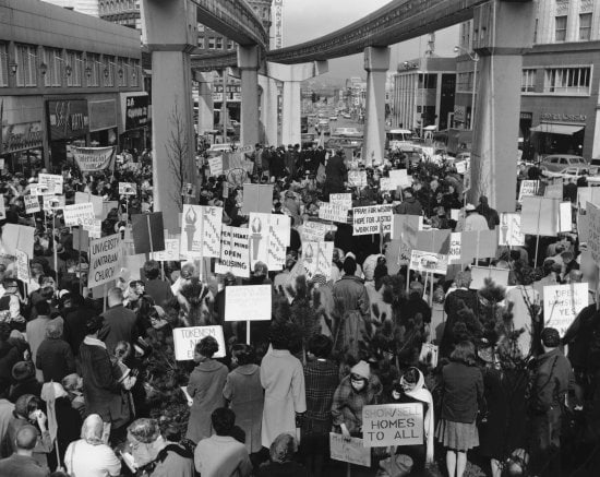 An historical image of an Open Housing rally at Westlake from Wing Luke Museum's Excluded, Inside the Lines exhibit