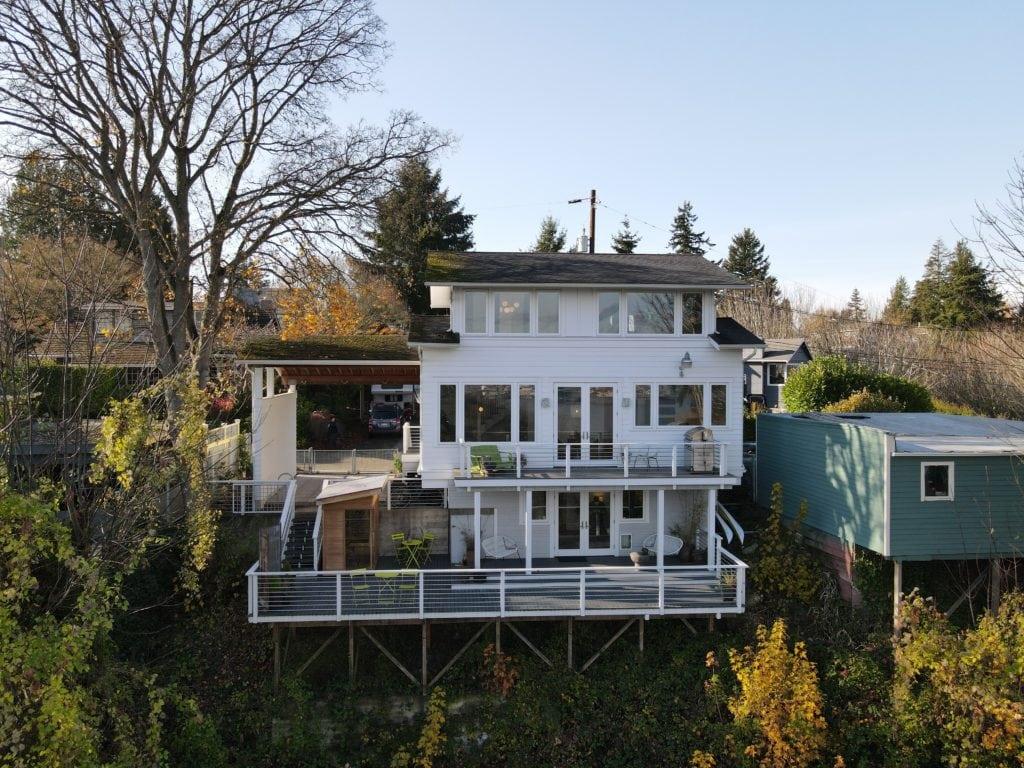 North Admiral View Home Aerial Drone Shot, Exterior, Upper Deck, Lower Deck, Outdoor Sauna, Carport