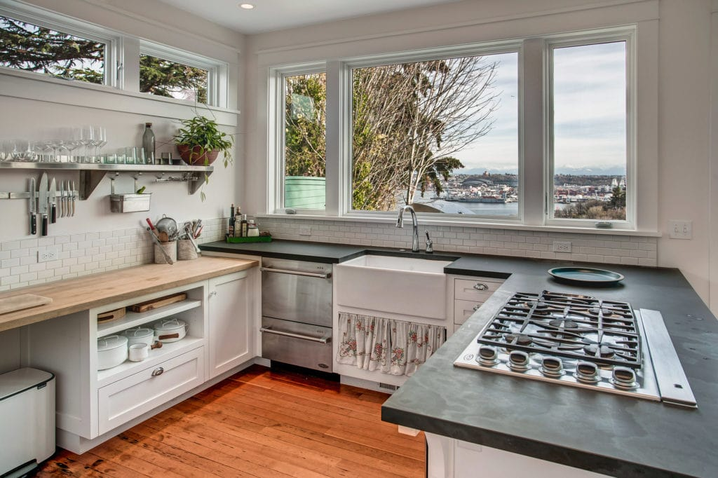 North Admiral View Home Kitchen, Soapstone Countertops, Butcherblock Countertop, Apron Sink, Seattle View, Cascade Mountains View