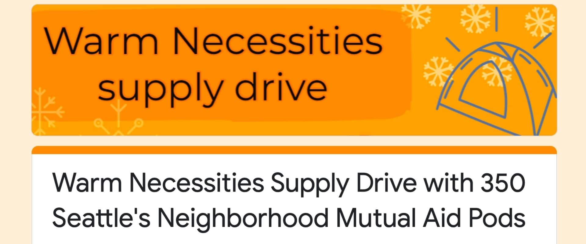 Warm necessities donation drive seattle 2020