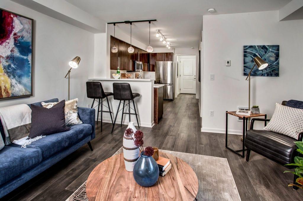 Meritage Capitol Hill Condo Living Area, Breakfast Bar, Kitchen, Foyer, Entry