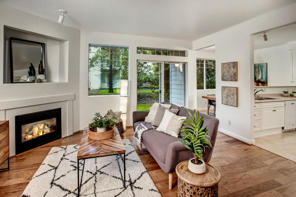 Molasses Creek Renton Condo Living Area, Gas Fireplace, Patio, Dining Area, Kitchen