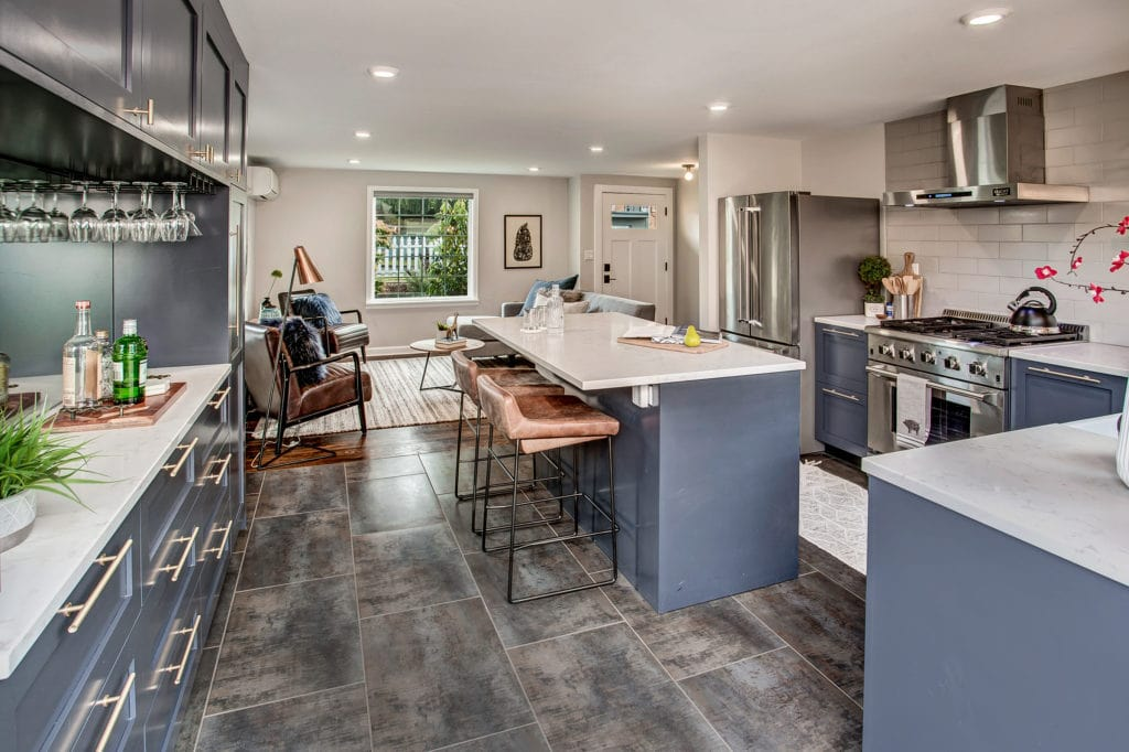 Remodeled West Seattle Bungalow Kitchen with Eating Space, Living Area, Front Entry