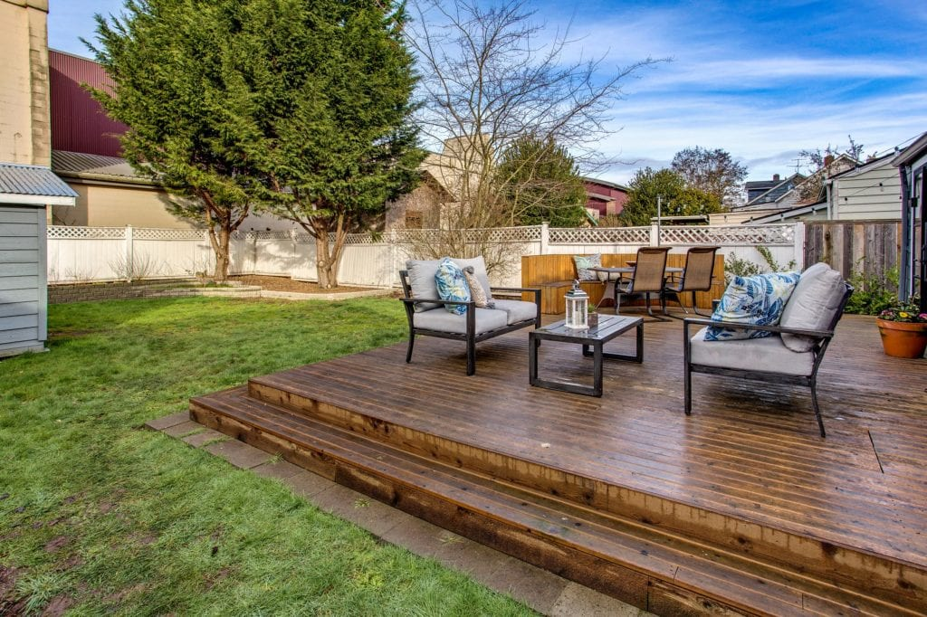 Remodeled West Seattle Bungalow Deck and Backyard