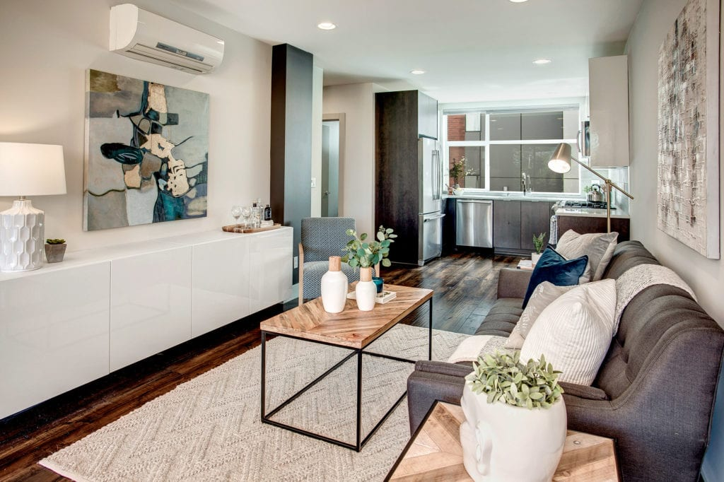 Modern Queen Anne Townhome Open Living Area and Kitchen