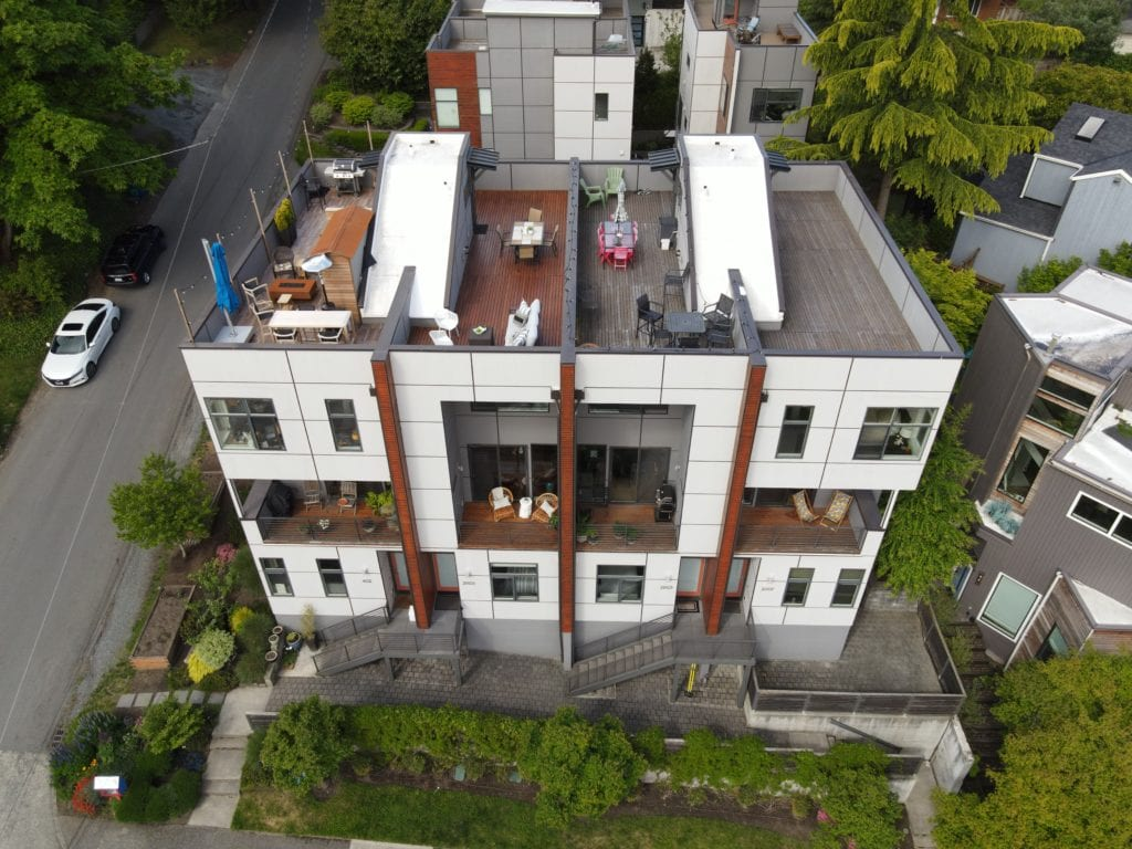 Modern Queen Anne Townhome Rooftop Deck Aerial View and Front Exterior