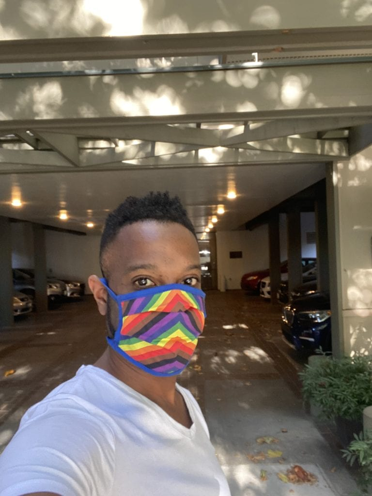 Rocky Masked Up for COVID Safety