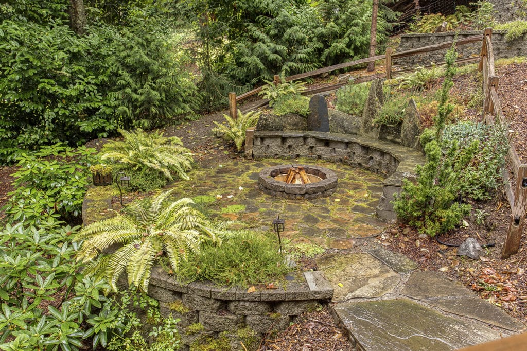Seattle Mid-Century Home Back Yard Fire Pit
